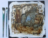 little town mixedmedia collage with coffee and acryl Canvas / Drawing
