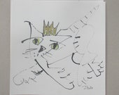 cat with crown - Original Drawing with colored Ink and Bambu-Stick - 7.8 x 7,8 inch