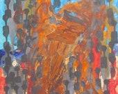 rusty people Original Drawing Oil / Canvas / art free shiping xl 27,56 x 39,37 inch