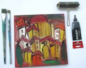 Toscana Acryl/Sand / red Canvas / Drawing