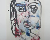 blue portrait expressive girl -  Original Drawing with colored Ink and Bambu-Stick 11,81 x 8,27 inch