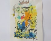 queen with cat Original Drawing with colored Ink and Bambu-Stick 11,81 x 8,27 inch