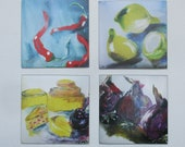 5 kitchen artworks art on magnets x/10 - free shiping