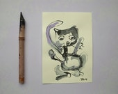 Cat - Original Drawing with colored Ink and Bambu-Stick - 8,27 x 5,51i