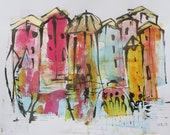 italian cityscene unique drawing urban sketch
