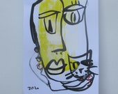 face with cat - Original Drawing free shiping - ink Gouache Aquarell sand rose 8,2x5,5 inch