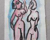 expressive Nudes - Original Drawing with colored Ink and Bambu-Stick - paper red - free shiping