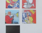 4 Music scenes Jazz art on magnets x/10 - free shiping