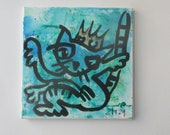 King of cats on mixed media Canvas / Drawing