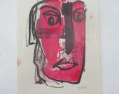 abstract red girl expressive coffee Original Drawing Ink and Bambu-Stick - free shiping 11,81 x 8,27 inc pink gold landscape