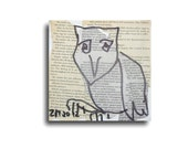 Owl Original-Drawing on Collage / Canvas free shiping - inch 5,91x5,91x0,79