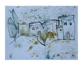 little landscape  - Drawing 11,81 x 8,27 inch minimalism fether-drawing aquarelle free shipping  blue