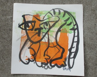 Cat - Original Drawing with colored Ink and Bambu-Stick - 7.8 x 7,8 inch