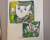 two green owls expressive art - Original Drawing with colored Ink and Bambu-Stick - free shiping 11,81 x 8,27 inc pink gold landscape