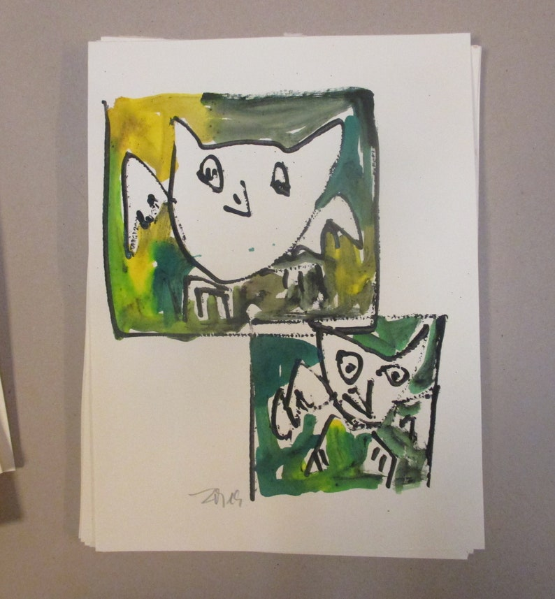 two green owls expressive art  Original Drawing with colored image 0