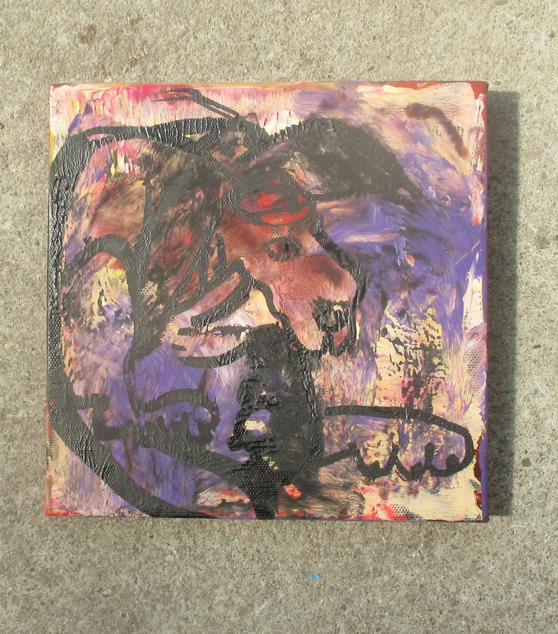little dog with long ears  Original-Drawing on Canvas  image 0