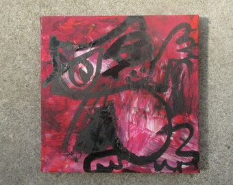 red crazy cat Original-Drawing on Canvas