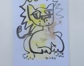 Lion zodiac - Horoscope - Astro Original Drawing free shiping - ink Gouache animal Aquarell black white birthday8,2x5,5 inch