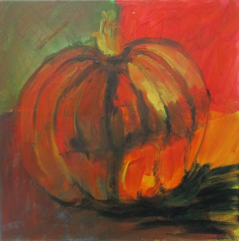 Pumpkins Painting Art Collage Red Canvas Original Drawing image 0