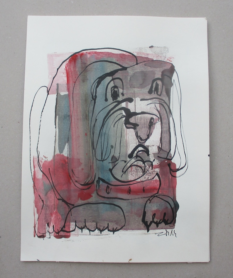 Dog  Drawing 1181 x 827 inch minimalism fether-drawing image 1