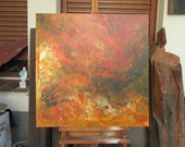 abstract orange painting - fire unique expressive informel painting
