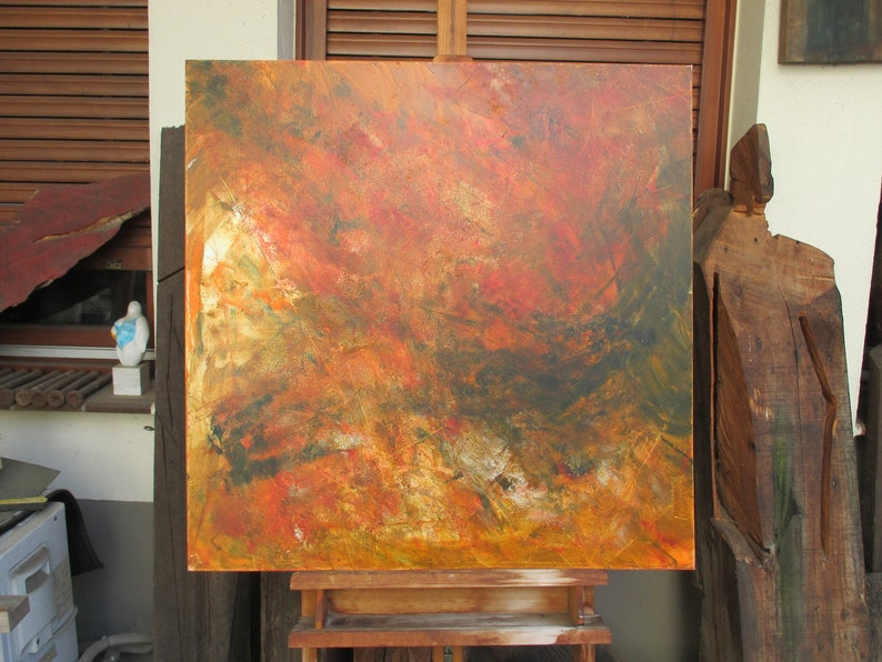 abstract orange painting  fire unique expressive informel image 0