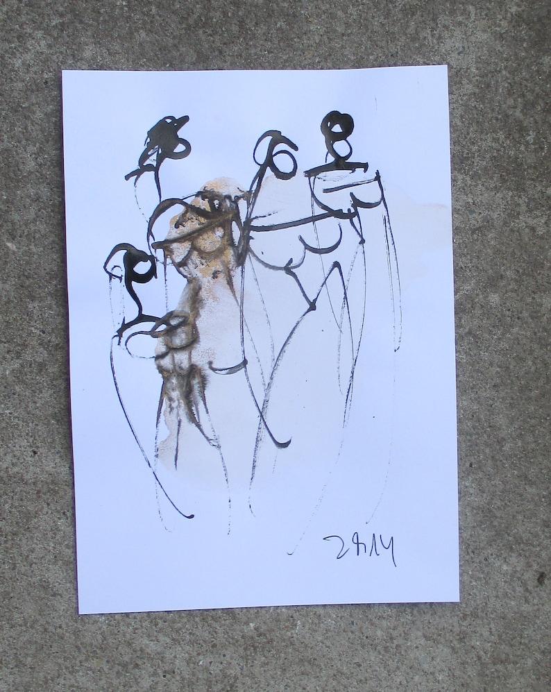 ladies  Original Drawing free shiping  ink Gouache animal image 1