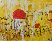 tuscany italy citiscene red and yellow xl painting