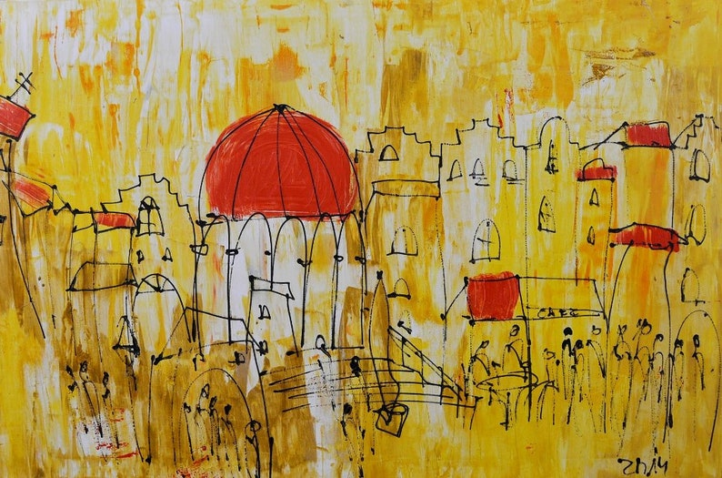 tuscany italy citiscene red and yellow xl painting  image 0