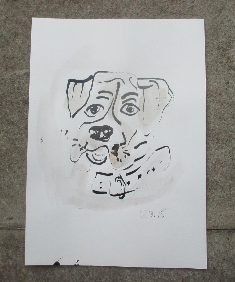 little bulldog original drawing on paper  image 0