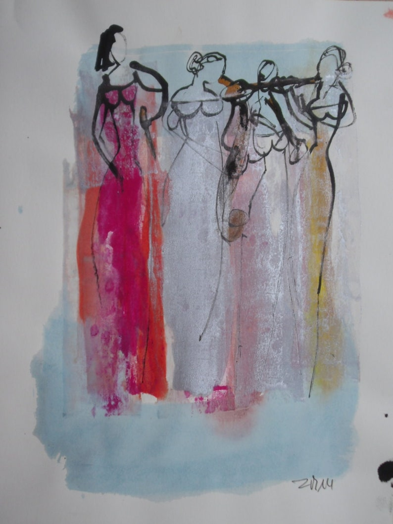 abstract jazz girls expressive coffee Original Drawing Ink image 0