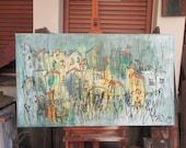 wild harbour city Oil / Canvas / xl- Original 47,24 x 31,5 inch home decor art