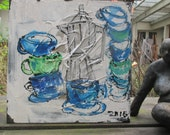 espresso cafe party citchenart / black Canvas / Drawing 15,74 x 15,74 inch