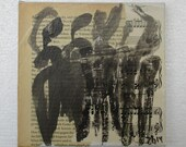 People Original Drawing on Collage / Canvas / art mixed media - inch 5,91x5,91x0,79