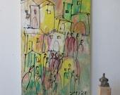 Tuscany, Italy, Original Drawing Oil / Canvas / art free shiping xl 20,56 x 39,37 inch