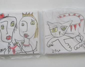 little expressive queen and cat  Original-Drawing on Canvas