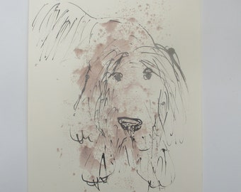 longhair dog bearded  - Original Drawing with colored Ink and Bambu-Stick - 7.8 x 7,8 inch