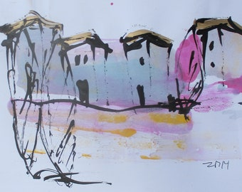 Mediterran  - Original Drawing with colored Ink and Bambu-Stick - free shiping 11,81 x 8,27 inc pink purplelandscape