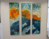 MARE 3-Pices Collage / Oil / Canvas / xl- Original Painting blue yellow home decor art