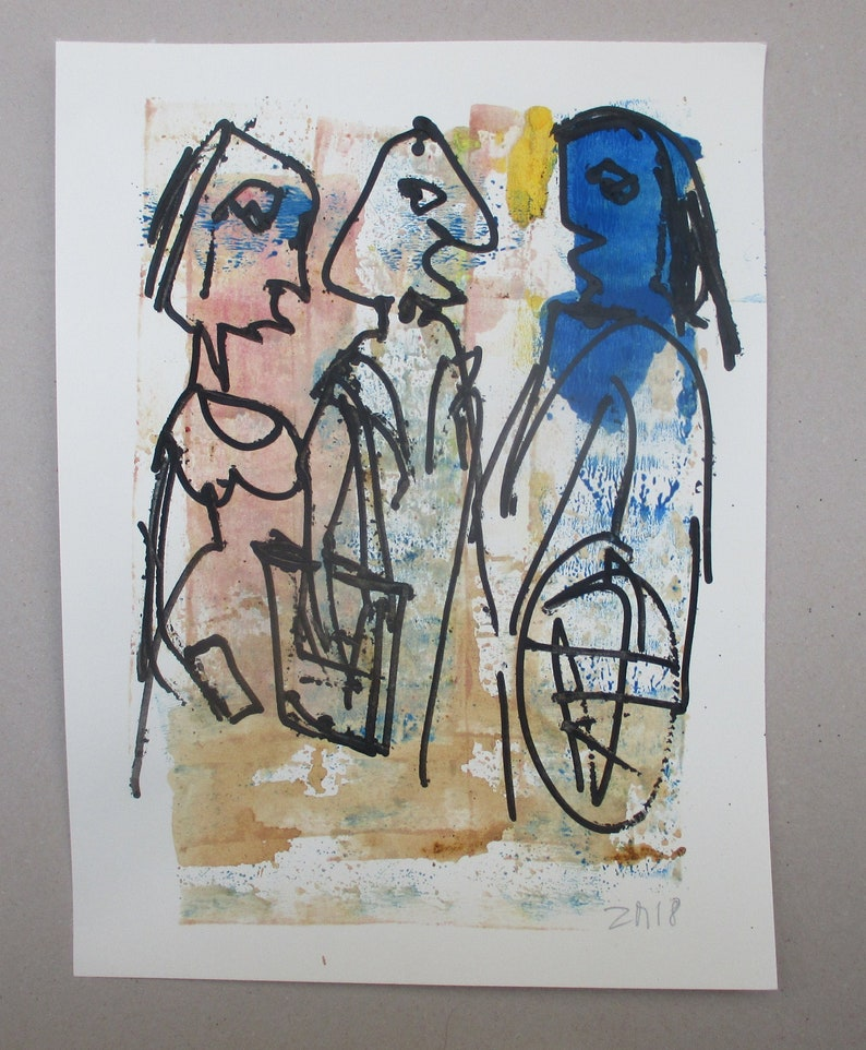 Mediterran People  Original Drawing with colored Ink and image 0