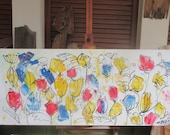 Flowerpower Original Drawing Oil / Canvas / art free shiping xl 47,5 x 39,37 inch