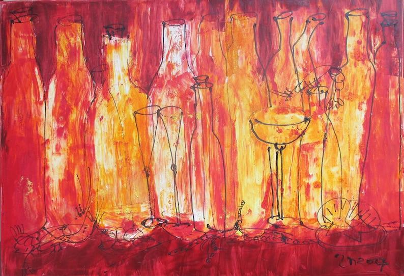 Vino  Bottles  Original Oil /  Canvas / Drawing xl  3937 image 0