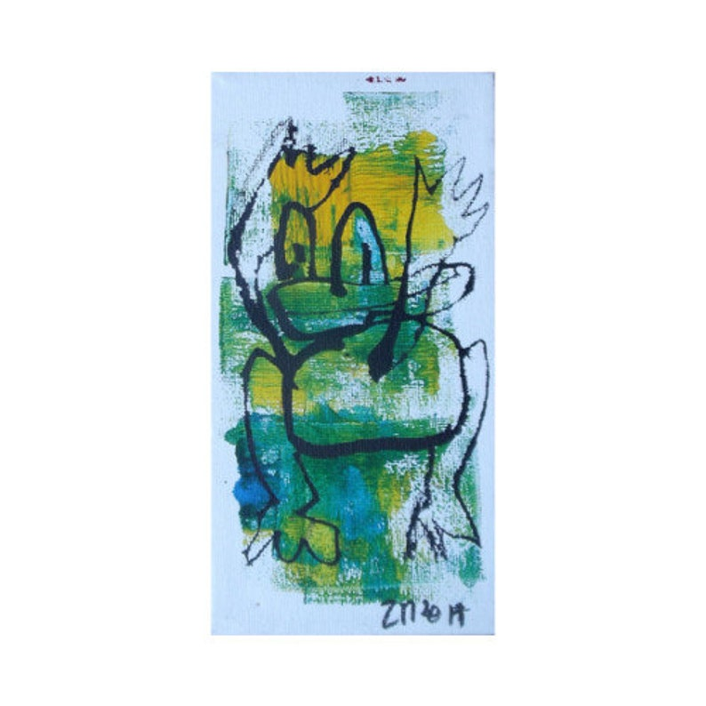 Frog Original Drawing on Canvas / Acryl  black green yellow  image 0