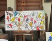 funny flowers Original Drawing acylic / Canvas / art xl 20,56 x 39,37 inch
