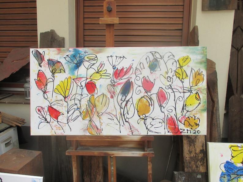 funny flowers Original Drawing acylic /  Canvas / art xl 2056 image 0