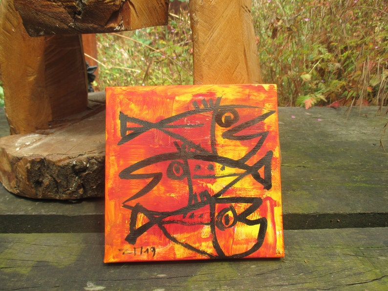 little fishes Original-Drawing on Canvas  image 1