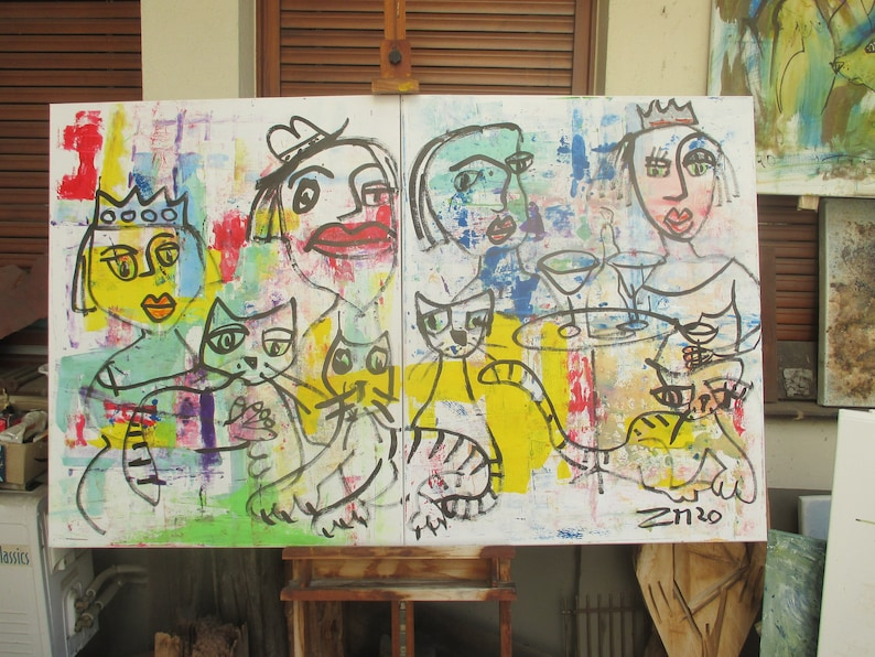 girls with cat Original Drawing Collage stretched Canvas image 0