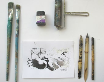 scorpio - Original Drawing with colored Ink and Bambu-Stick - 8,27 x 5,51i