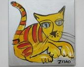 crazy cat expressive portrait Canvas / Drawing 15,7 x 15,74 inch