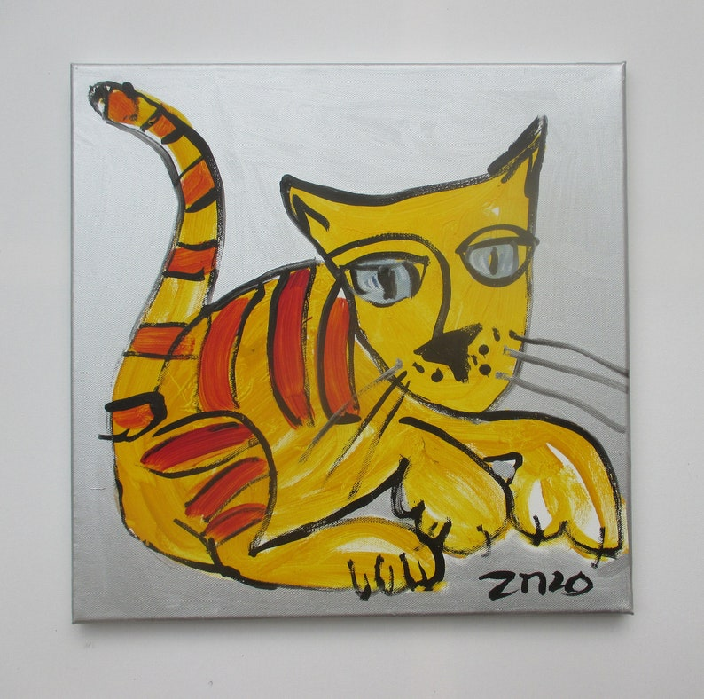 crazy cat expressive portrait Canvas / Drawing 157 x 1574 image 0